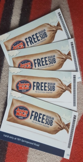 Jersey Mike's Sub gift certificates